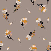 Vintage Seamless pattern  Protea flowers Vector isolated abstract florals and plants. Decorative design elements.Random repeat design for fashion fabric,web,wallpaper,and all prints on stylish brown background color