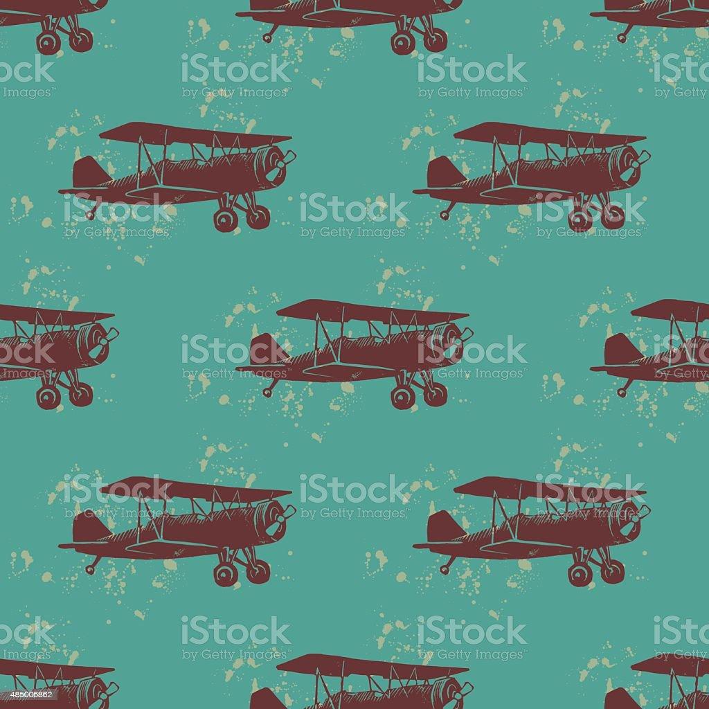 Vintage patrón sin costuras con aviones - ilustración de arte vectorial