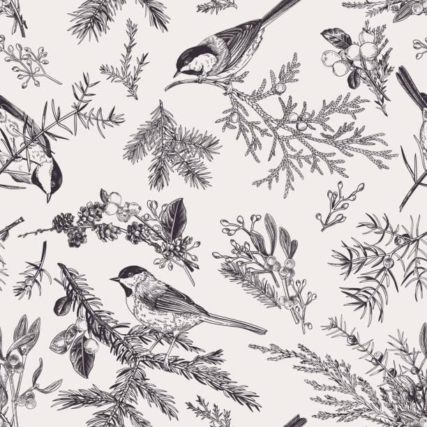 Vintage seamless pattern with birds. vector art illustration
