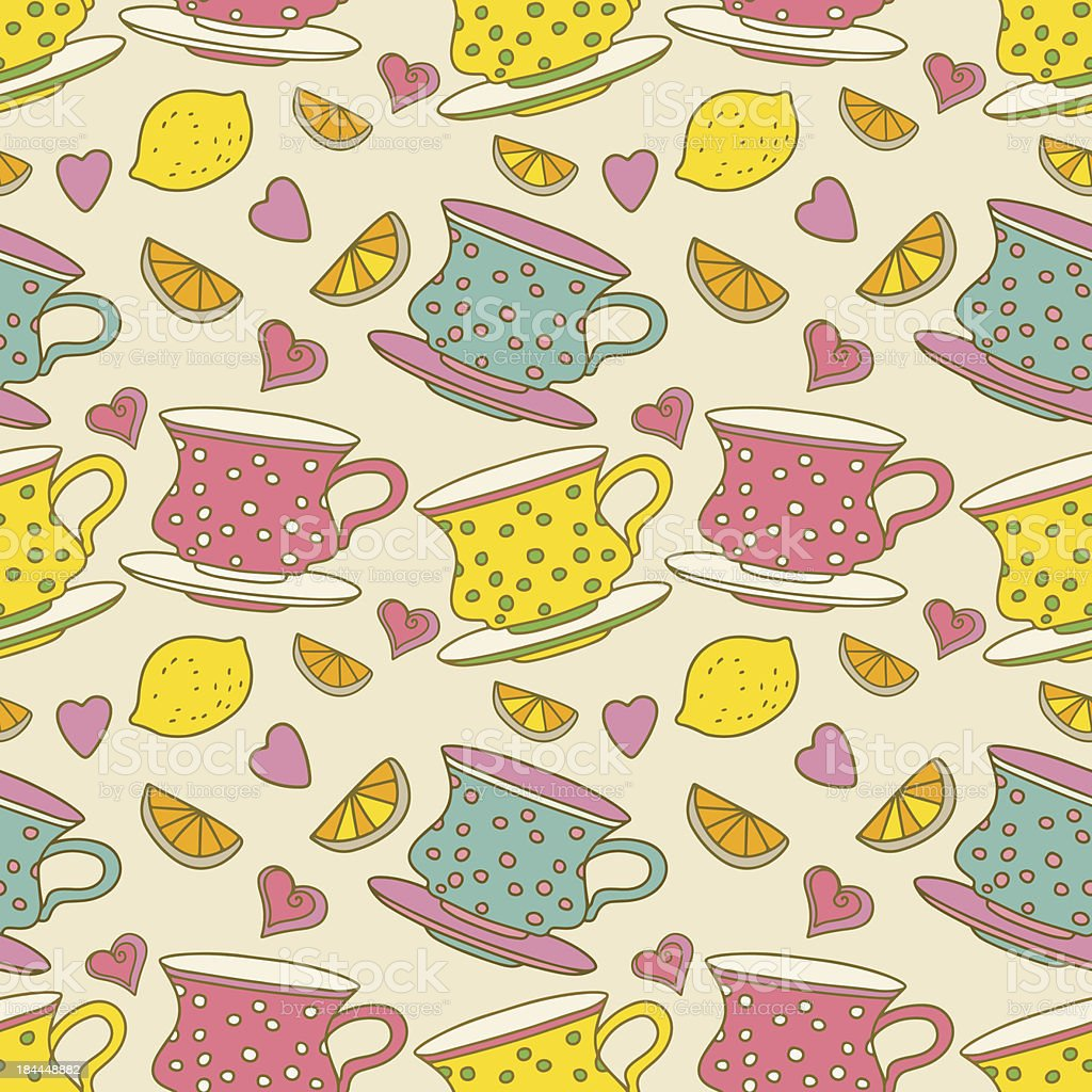 Vintage seamless pattern with cups, lemons and  hearts royalty-free stock vector art