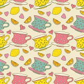 Vintage seamless pattern with cups, lemons and  hearts - vector artwork