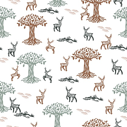 Vintage Seamless Pattern with Deer Herd and Trees vector Illustration
