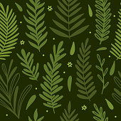 Vintage seamless pattern with green plants and leaves. Elegant vector botanical background
