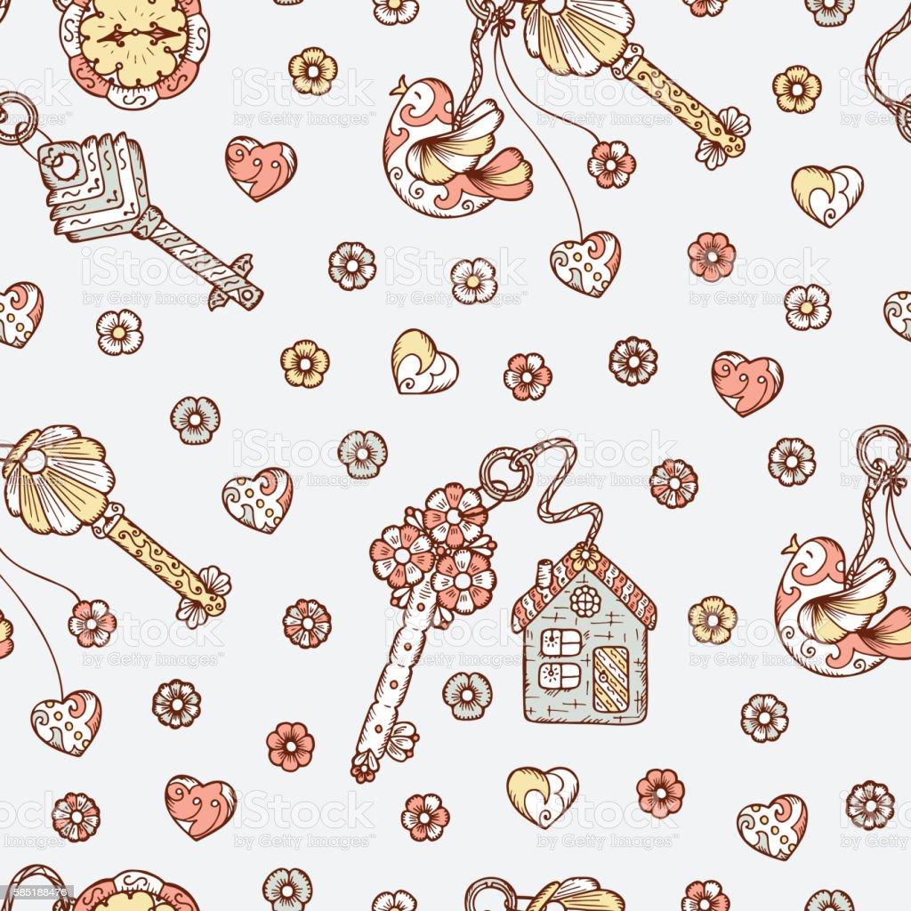 Vintage Seamless pattern with Hand drawn doodle lock, trinkets, keys vector art illustration