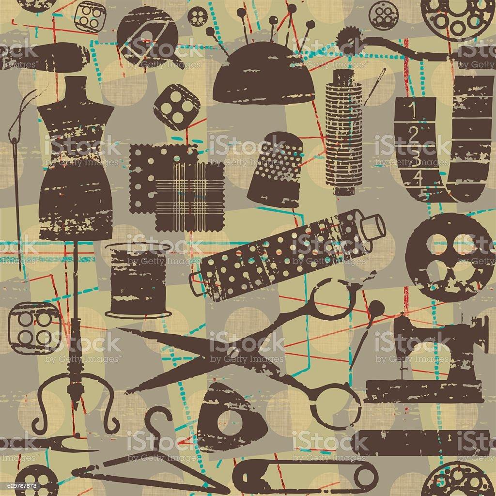 Vintage Nahtlose Muster Mit Zerkratzt Nähen Und Mode Symbole Stock ...