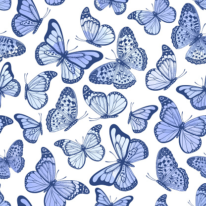 Vintage seamless pattern with watercolor butterflies on white background
