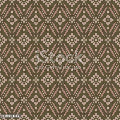 istock Vintage Seamless Patterns on brown 1158396360