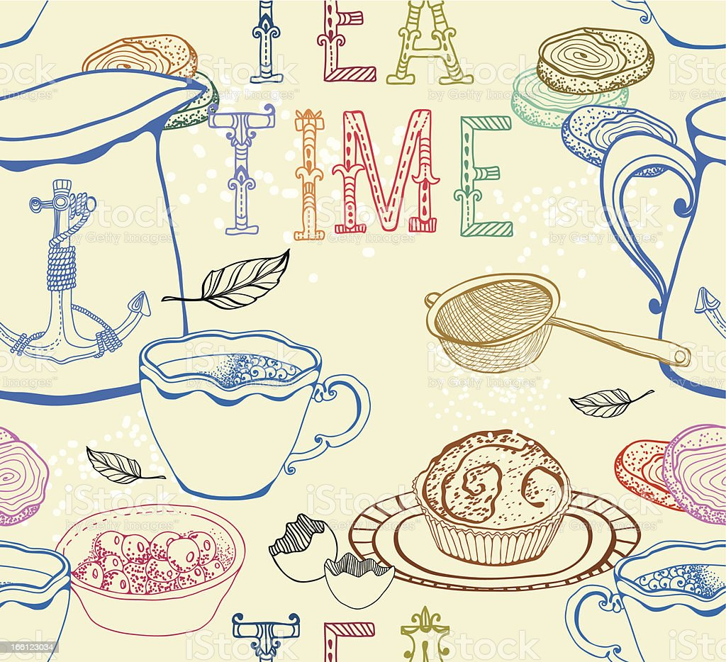 Vintage seamless  tea background royalty-free stock vector art