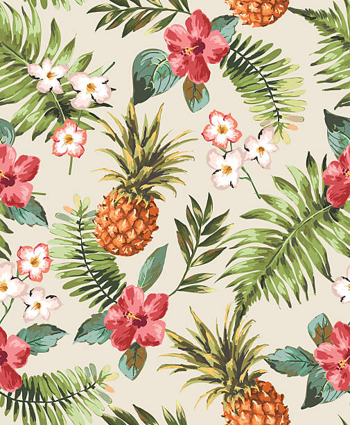 vintage seamless tropical flowers with pineapple vector pattern background vintage seamless tropical flowers with pineapple vector pattern background big island hawaii islands stock illustrations