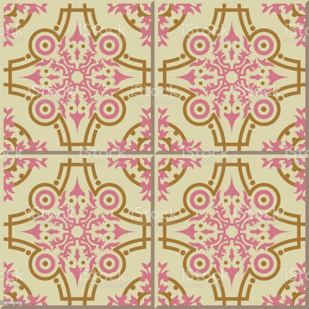 Vintage Seamless Wall Tiles Of Pink Gold Round Moroccan Portuguese ...
