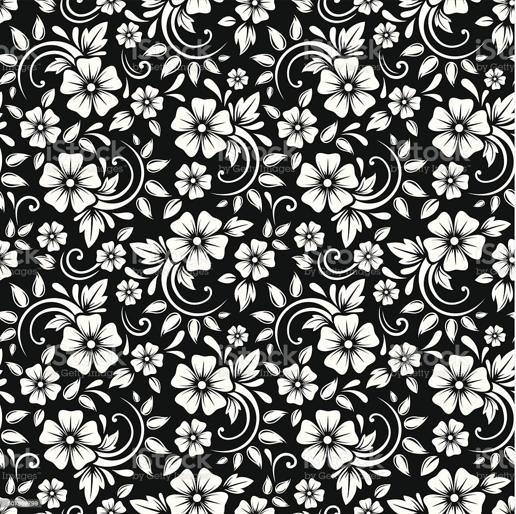 Vintage Seamless White Floral Pattern On A Black Background Vector