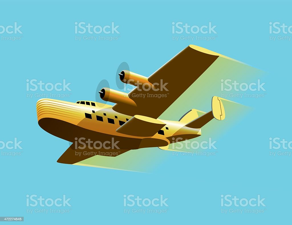 Vintage Seaplane vector art illustration