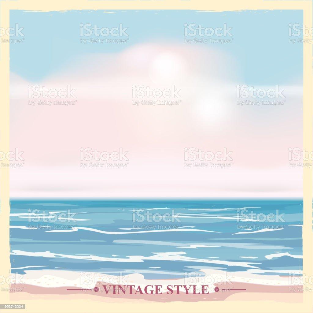 ビンテージ海辺夏ポスター海のベクトルの背景イラスト - アイコンの