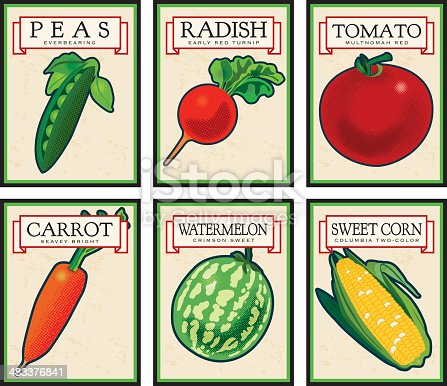 Six vintage seed packets, each on it's own named layer for easy editing.