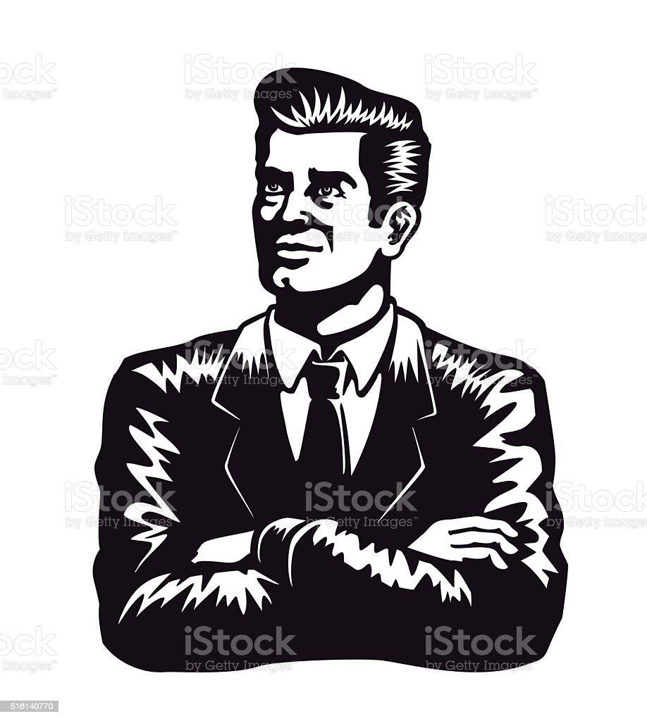 Vintage de seguros de hombre con brazos cruzados ilustración de vectores fondo blanco - ilustración de arte vectorial