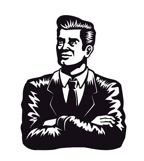 Vintage self-confident man with arms crossed vector illustration white background vector art illustration