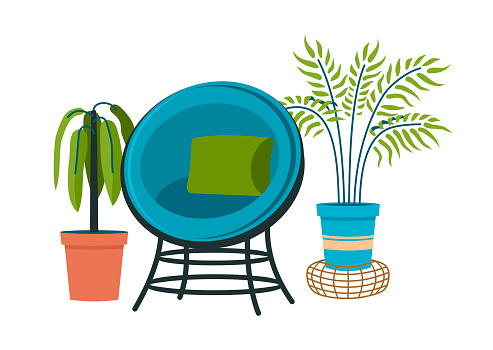 Vintage semicircular armchair with indoor plants. Twisted chair with green cushion and blue upholstery