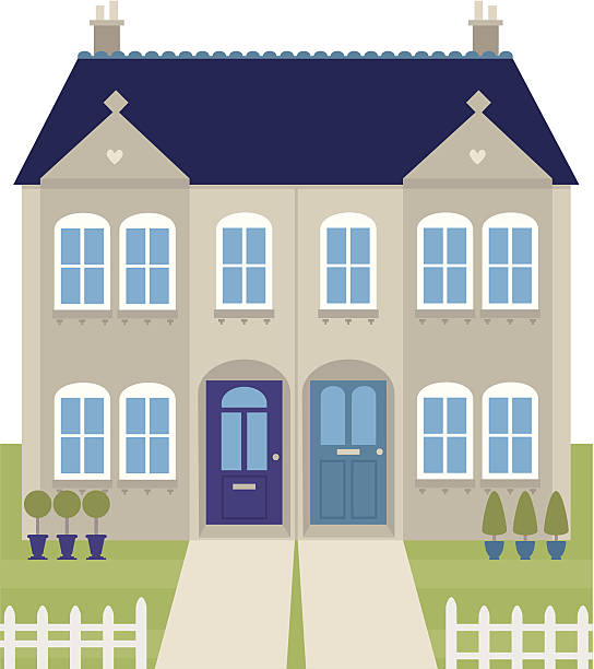 ... Vintage semi-detached houses vector art illustration ...