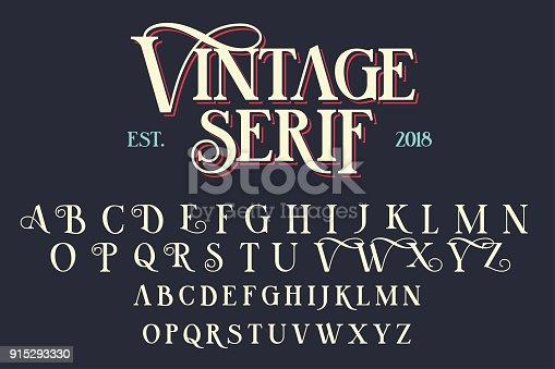istock Vintage serif lettering font 915293330