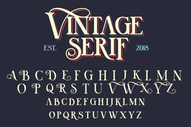 Vintage serif lettering font vector art illustration