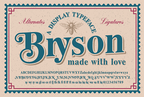 A vintage serif typeface with a big set of alternates and ligatures, this font looks better for headlines or short phrases and can be used for alcohol labels, retro emblems as well as for many other uses.