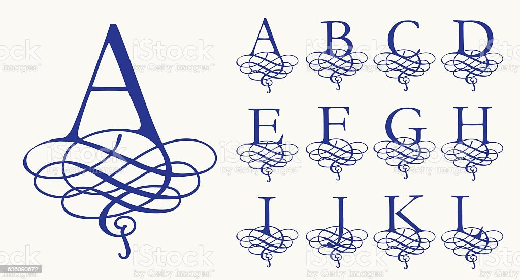 Vintage Set 1. Calligraphic capital letters with curls for Monograms vektör sanat illüstrasyonu