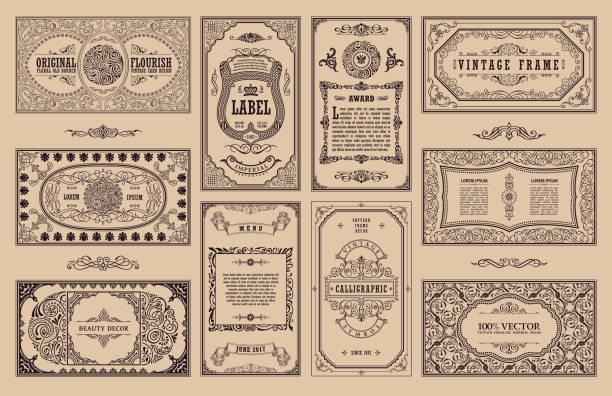 ilustraciones, imágenes clip art, dibujos animados e iconos de stock de tarjetas retras vintage set, color beiges. invitación de la boda de plantilla tarjeta de felicitación. línea caligráficos marcos - marcos de certificados y premios