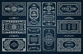 Vintage set, black retro cards. Template greeting card wedding invitation. Line calligraphic frames. Floral engraving design labels advertising place for text. Flourishes frame background