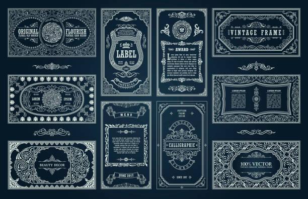 빈티지, 블랙 레트로 카드입니다. 템플릿 카드 인사말 결혼식 초대장입니다. 선 서 예 프레임 - 오래된 stock illustrations