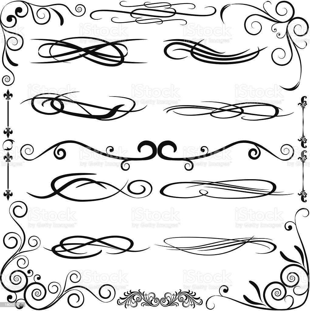 Vintage set calligraphic elements. royalty-free stock vector art