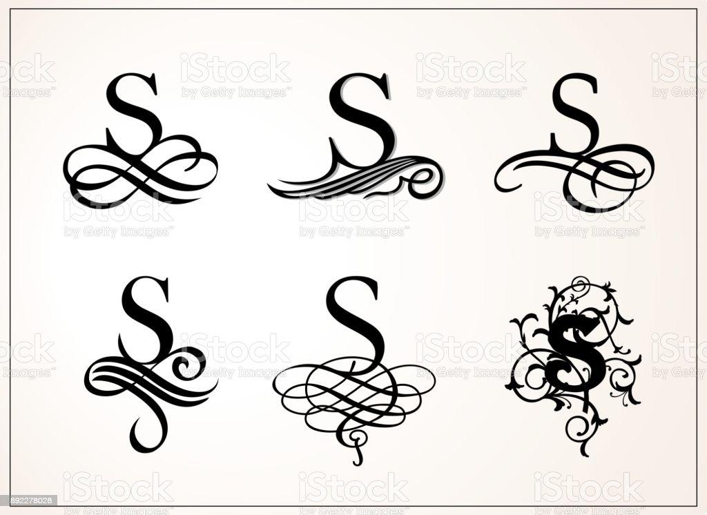 Ensemble vintage lettre majuscule s pour monogrammes et logos filigrane belle police de style - K en majuscule ...