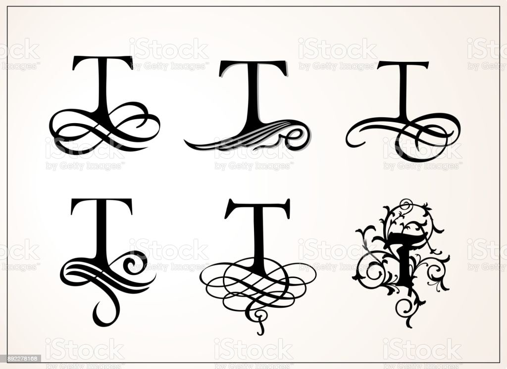Capital Letter T For Monograms And Logos Beautiful Filigree Font Victorian