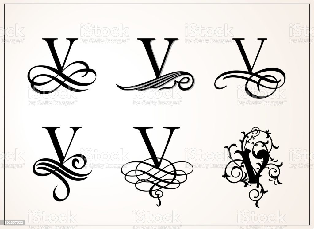 Vintage Set Capital Letter V For Monograms And Logos Beautiful