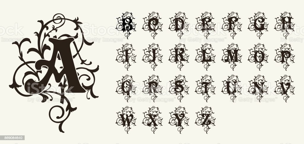 Vintage set capital letters, floral Monograms and beautiful filigree font. Art Deco, Nouveau, Modern style. vector art illustration