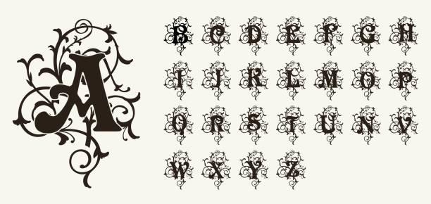 vintage set capital letters, floral monograms and beautiful filigree font. art deco, nouveau, modern style. - renaissance style stock illustrations, clip art, cartoons, & icons