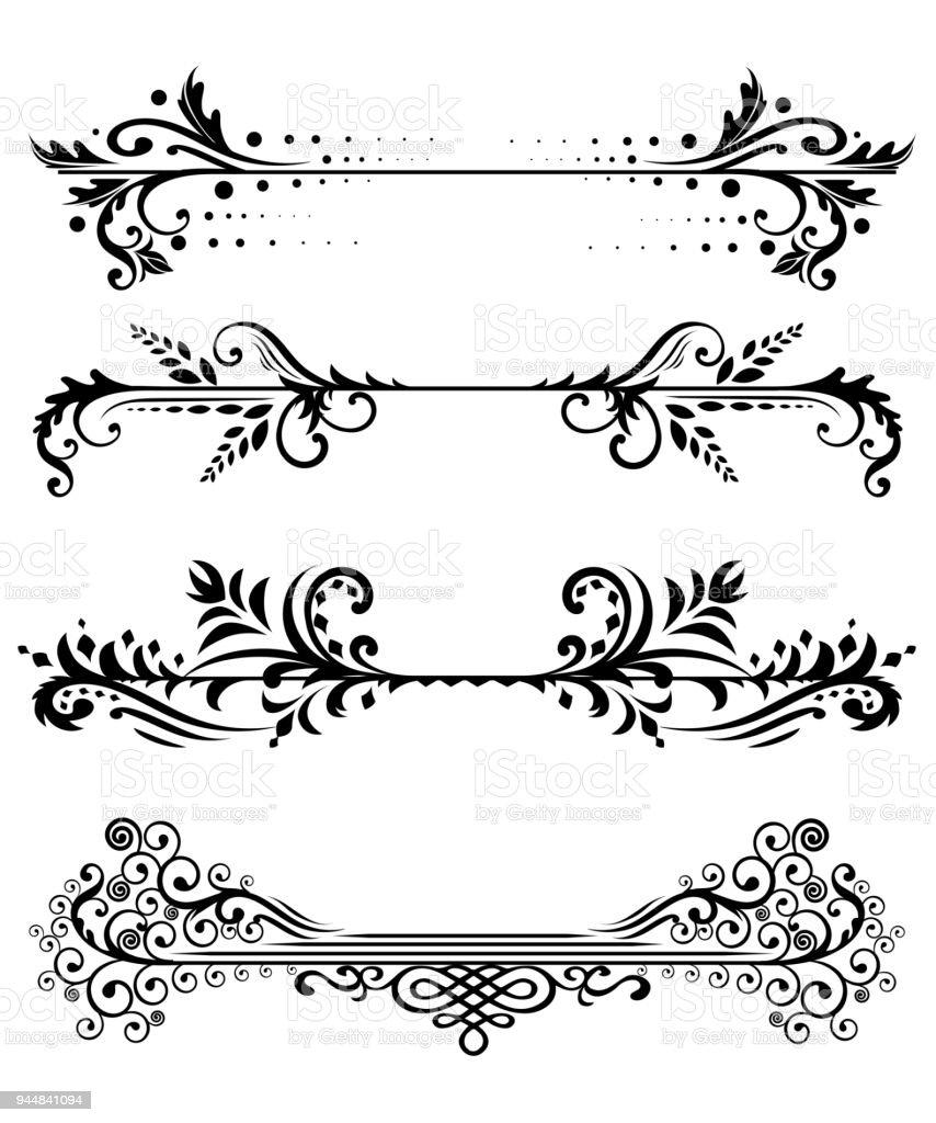 Ilustración de Conjunto Vintage Elementos Florales Para Diseño De ...