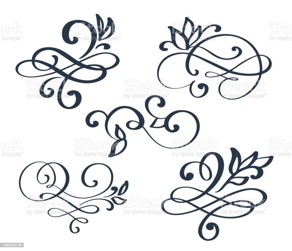 Vintage Set Hand Drawn Flourish Separator Calligraphy Elements