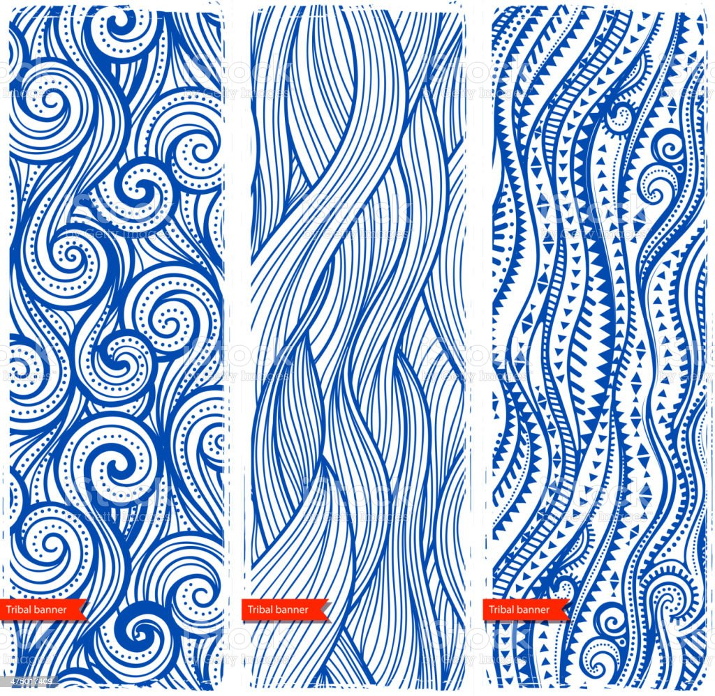 Vintage set of banners with ethnic waves vector art illustration