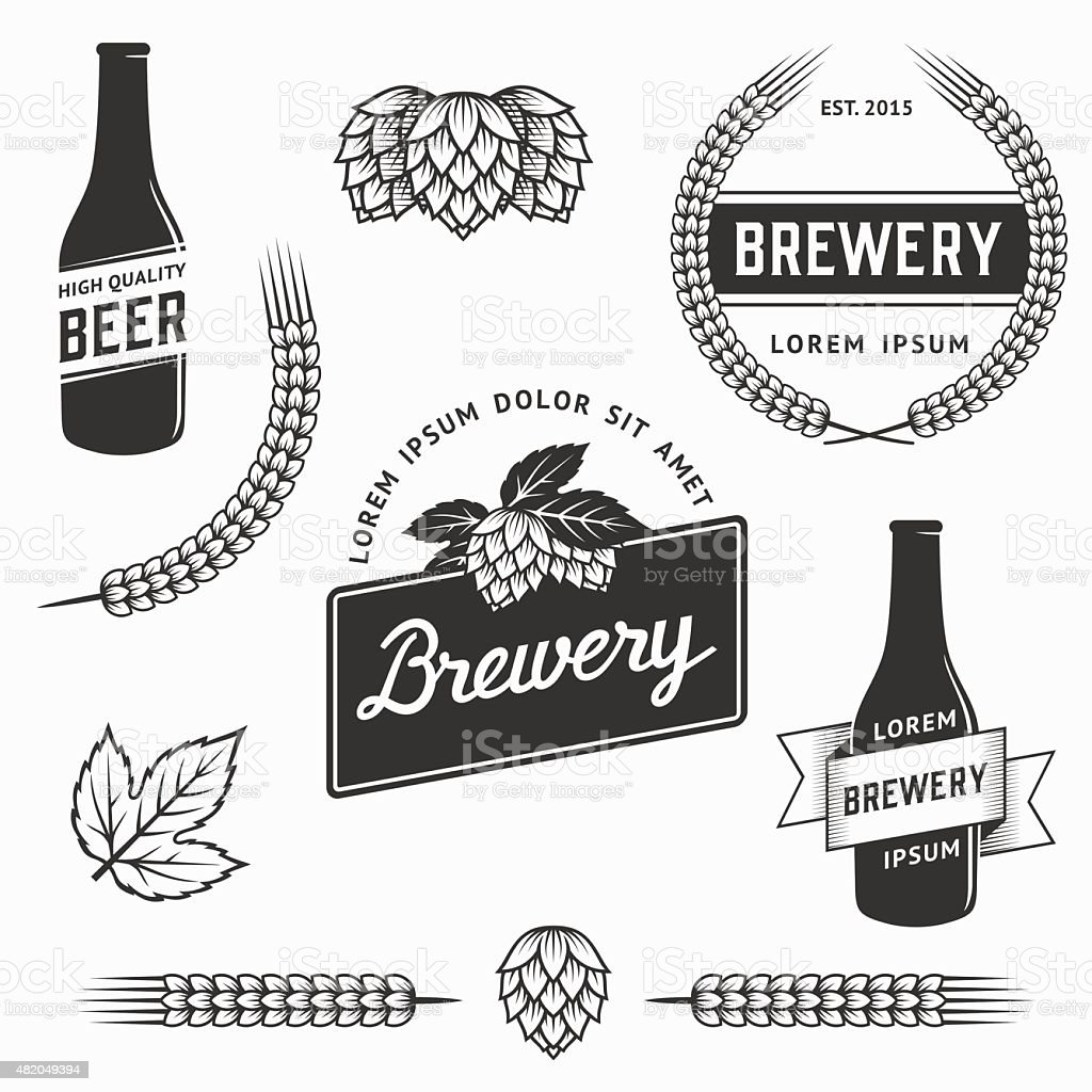 Vintage set of brewery logos and labels. Stock vector. vector art illustration