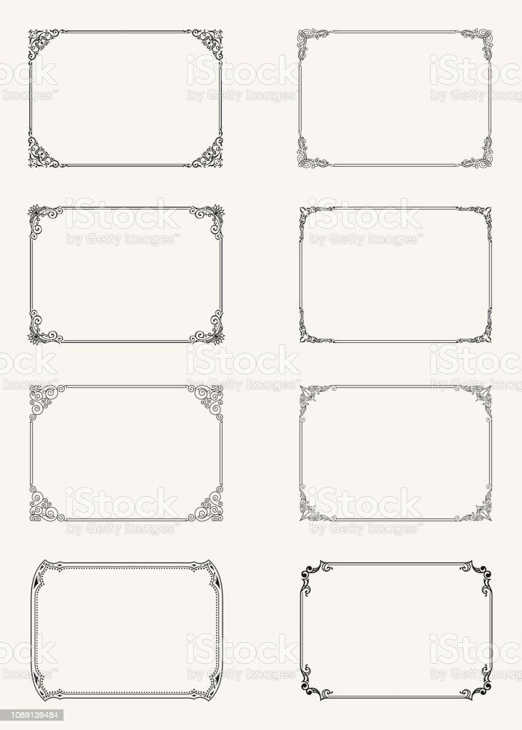Vintage uppsättning kalligrafiska ramar. Svart och vit vektor gränsen av inbjudan, diplom, intyg, vykort vektorkonstillustration