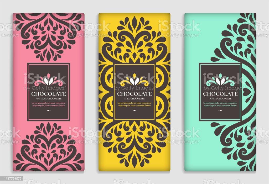 Vintage Set Of Chocolate Bar Packaging Design Vector Luxury