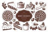 Vintage set of decorative berries dessert sketch