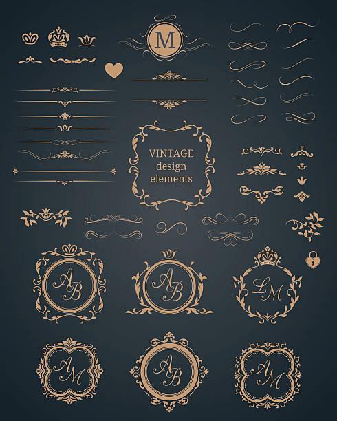 Vintage set of decorative elements Vintage set of decorative elements. Wedding monograms. Calligraphic elegant ornaments.  alphabet borders stock illustrations