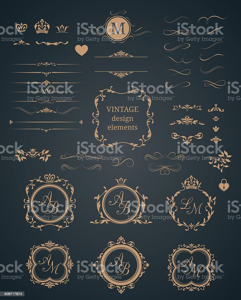 Vintage set of decorative elements vector art illustration
