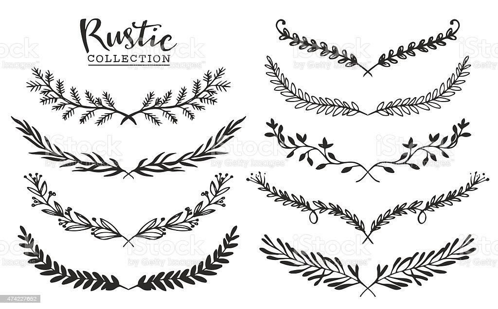 Vintage Set Of Hand Drawn Rustic Laurels Floral Vector Graphic Royalty Free