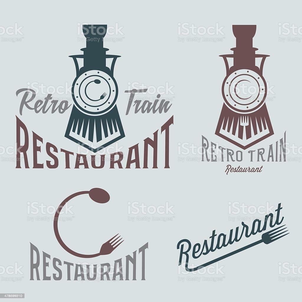 vintage set of retro train restaurant vector art illustration