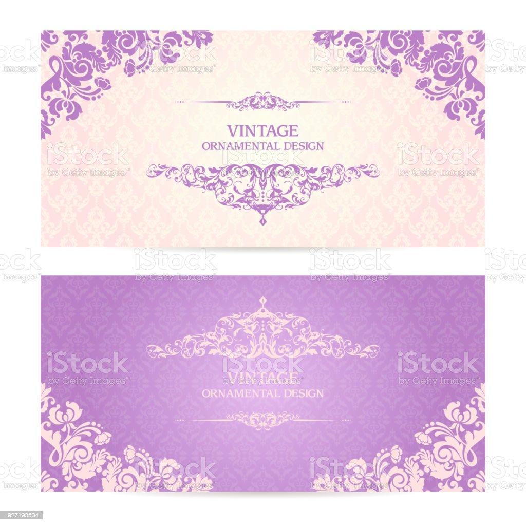 Vintage set of template ornamental borders and patterned background vintage set of template ornamental borders and patterned background elegant lace wedding invitation design stopboris Images
