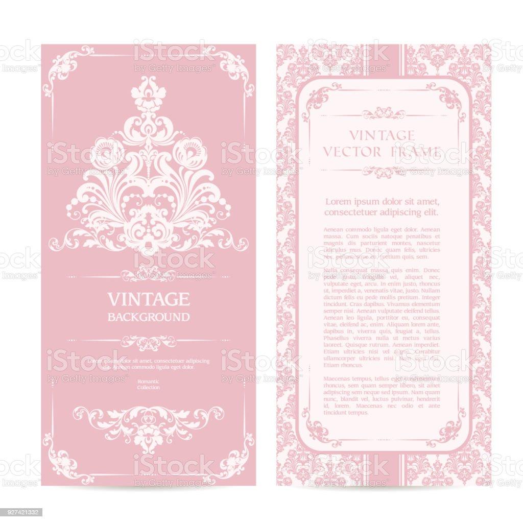 Vintage Set Der Vorlage Ornamentale Rahmen Und Gemusterten Hintergrund.  Eleganter Spitze Hochzeit Einladung Design