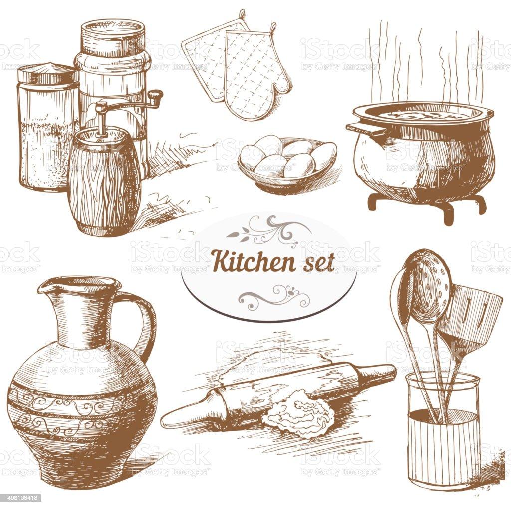 Set Di Oggetti Di Cucina - Immagini vettoriali stock e altre ...
