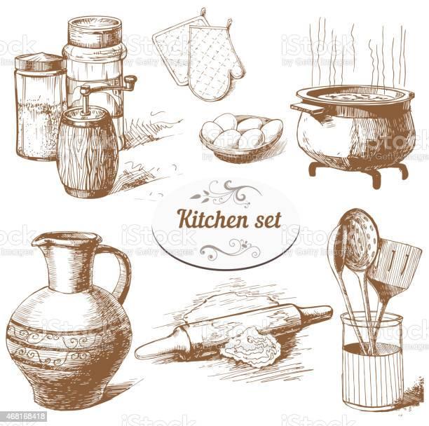 Vintage set of various kitchen tools vector id468168418?b=1&k=6&m=468168418&s=612x612&h=leq4dj5wf sghnbrvej4qfaabtxflreyrjgcmtjr3ho=